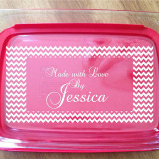 Personalized Pyrex Dish Engraved Made with Love