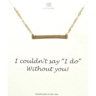 Gold Bar Bridesmaid Necklace