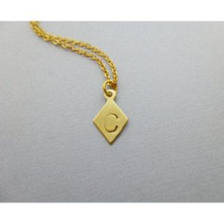 Hand Stamped Small Initial Diamond Charm Necklace