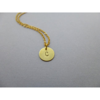 Hand Stamped Initial Circle Charm Necklace