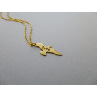 Hand Stamped Free Bird Necklace