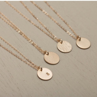 Personalized 14k Gold Disc Necklace