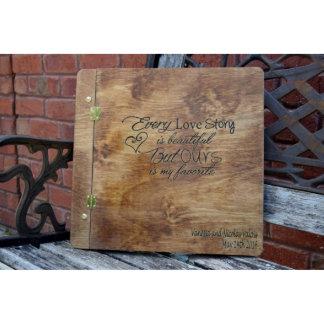 Libro de visitas de madera rústico del boda