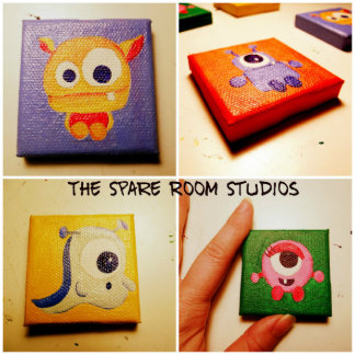 Small Baby Monster Hand Painted Magnet