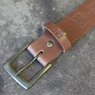 Brown Leather Belt w/Square Brass Buckle