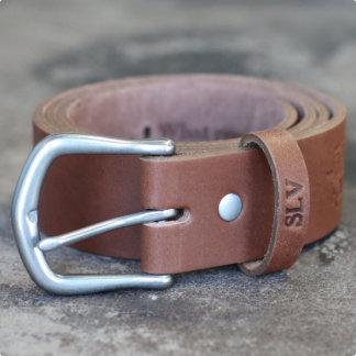 Handmade Leather Belt w/Matte Silver buckle