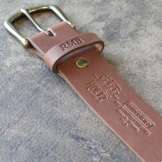 Fine Brown Leather Belt w/Brass Buckle