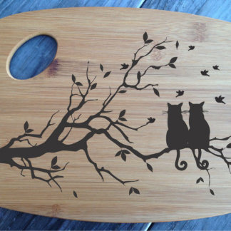 Bamboo Cutting Board Cats on a Tree/Eat Rest Love