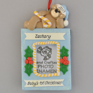 Personalized Photo Frame Boy 1st Christmas Ornamen