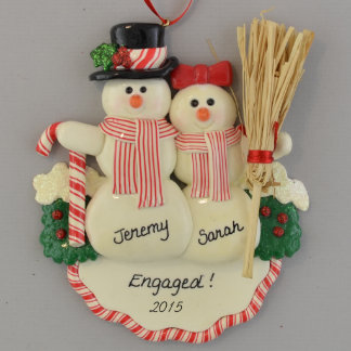 Engaged Snow Couple with Broom Ornament