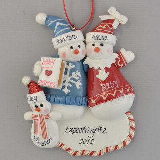 Expecting 2nd Baby Personalized Ornament