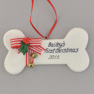 Dog Bone White with Bells Personalized Ornament