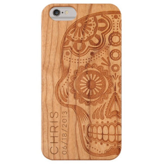 Custom iPhone Laser Engraved Sugar Skull Wood Case