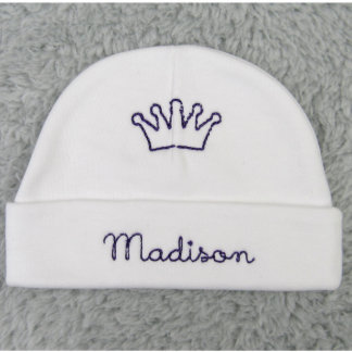Personalized baby beanie with crown