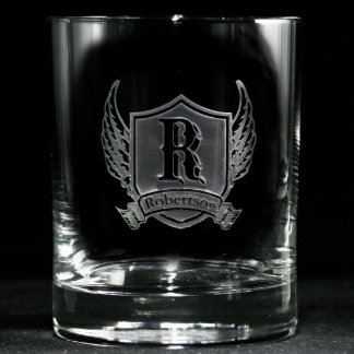 Winged Shield Personalized Whiskey Glasses