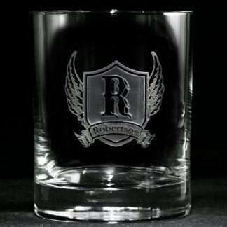 Vidrios personalizados escudo cons alas del whisky