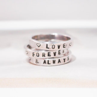Set of 3 Personalized Sterling Silver Rings