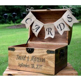 Personalized Wedding Card Box w/Burlap Banner
