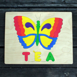 Wooden Rainbow Butterfly Picture Name Puzzle