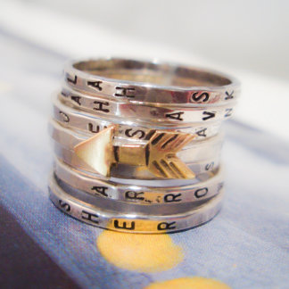 Personalized Golden Arrow Seven Ring Set