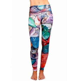 Multi Color Yoga Leggings with Fold Over Waist