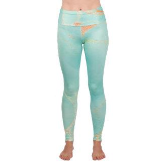 Turquoise Stone Yoga Fold-Over Waist Leggings