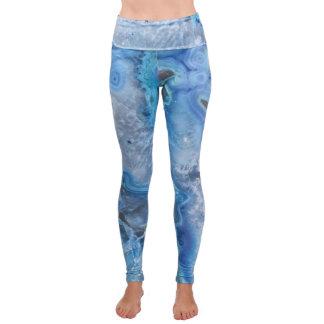 Blue Geode Crystal Fold-Over Yoga Leggings