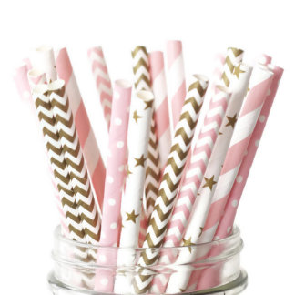 25pk of Gold and Pink Super-Star Paper Straws
