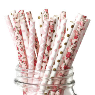 25pk of Pink, Gold & Floral Design Paper Straws