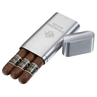 Visol Brushed Stainless Steel Cigar Case