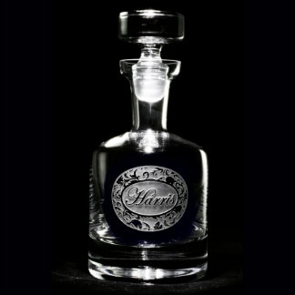 Ornate Demask Personalized Decanter Spirits Decanter