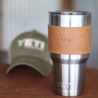 Yeti Personalized Leather Drink Wrap w/Handle