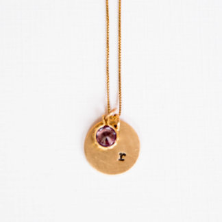Initial & Birthstone Necklace - February/Amethyst