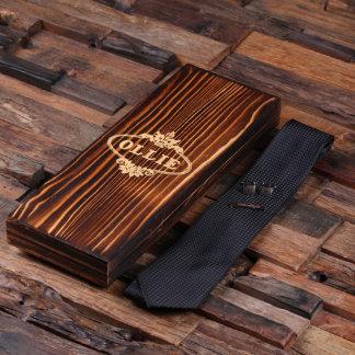 Personalized Black Tie, Cuff Links, Tie Clip & Box