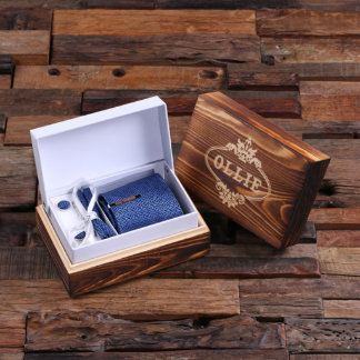 Personalized Tie Clip, Blue Squares Tie & Wood Box