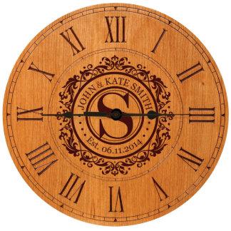 "12"" Cherry Monogram Wall or Desktop Clock"