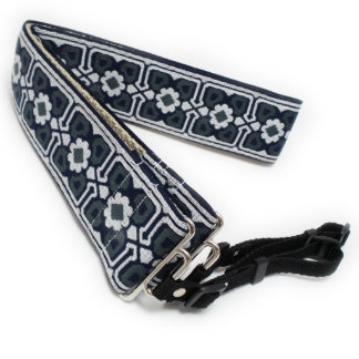 Dark Blue Floral Handmade Camera Strap w/ Webbing