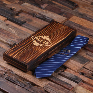 Dark Blue Striped Tie, Cuff Links, Tie Clip & Box