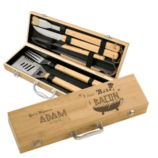 Personalized Bamboo BBQ Set with 5 Amazing Tools