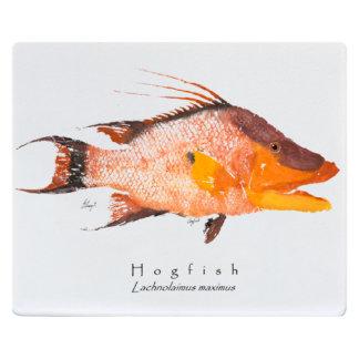 Realfish Gyotaku Hogfish12x15 White Cutting Board