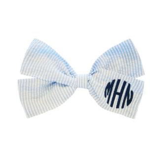 Light Blue Monogrammed Seersucker Hair Bow