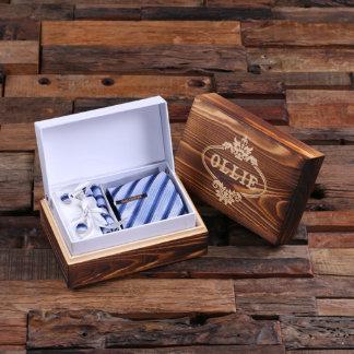 Customized Tie Clip, Light Blue Striped Tie & Box
