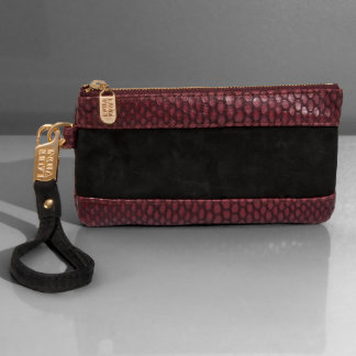 Marsala Honeycomb Leather Color Block Wristlet