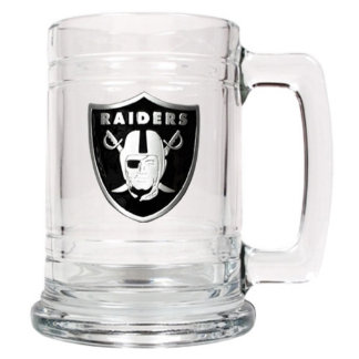 Oakland Raiders NFL Medallion Glass Beer Mug