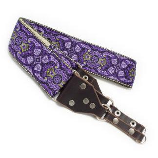 Purple Paisley Handmade Camera Strap w/ Leather