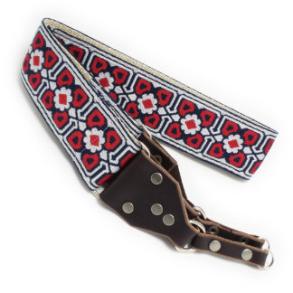 Red Gemoetric Handmade Camera Strap w/ Leather End