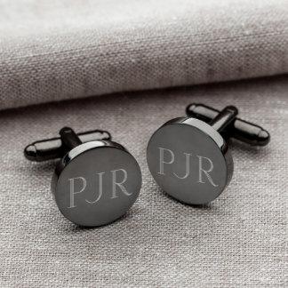 Personalized Gunmetal Round Cufflinks