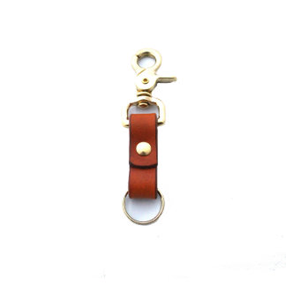 Brown Leather and Brass Cascade Key Ring