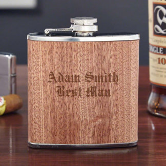 Walden Engraved Wood Liquor Flask