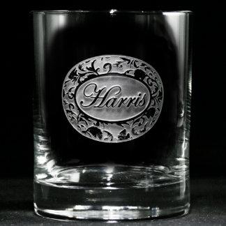 Vidrios personalizados damasco adornado del whisky